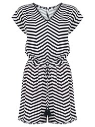 Oasis Striped Playsuit Black White