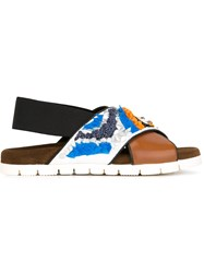 Msgm Embellished Cross Strap Sandals Multicolour