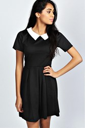 Boohoo Contrast Collar Skater Dress Black