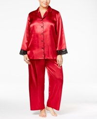 Thalia Sodi Plus Size Contrast Trimmed Pajama Set Only At Macy's Cranberry Zing