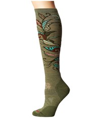 Smartwool Phd Ski Medium Pattern Light Loden Women's Crew Cut Socks Shoes Olive