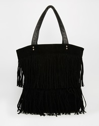 New Look Layered Fringe Shopper Black