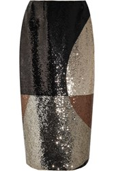 Tom Ford Sequined Stretch Satin Skirt Brown
