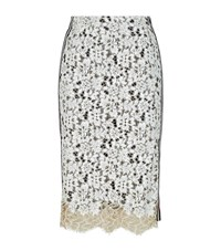 Pinko Embroidered Lace Pencil Skirt Female Ivory