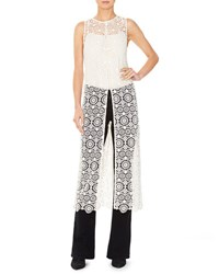 Alice Olivia Gretchen Sleeveless Lace Slit Front Tunic Neutral Pattern