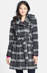 Vince Camuto Plaid Trench Coat With Removable Hood Black White Plaid
