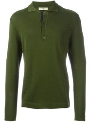 Romeo Gigli Vintage Long Sleeve Polo Shirt Green