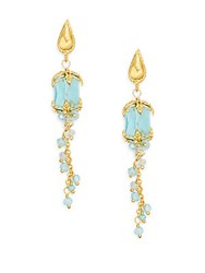 Delicate Azaara Austrian Crystal And Swarovski Crystal Linear Drop Earrings Turquoise
