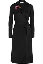 Diane Von Furstenberg Cybil Jersey Wrap Dress Black