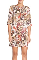 Kut From The Kloth Print Crepe Shift Dress Ivory Red Multi