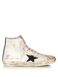 Golden Goose Francy Destroyed Zebra High Top Leather Trainers
