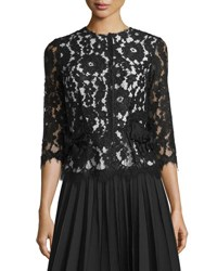 Marc Jacobs 3 4 Sleeve Bow Pocket Lace Top Black