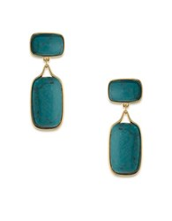 Lauren Ralph Lauren Treasure Trove Turquoise And 12K Gold Plated Double Drop Clip On Earrings Blue