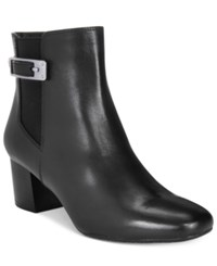 Bandolino Lethia Block Heel Booties Black Leather