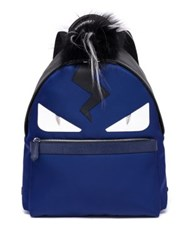 Fendi Monster Fox Kidassia And Calf Leather Backpack Blue