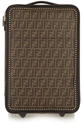 Fendi Printed Faux Textured Leather Travel Trolley Dark Brown