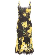 Dolce And Gabbana Silk Cotton Blend Printed Dress Yellow