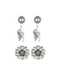 Lydell Nyc Floral Crystal Earring Trio Silver