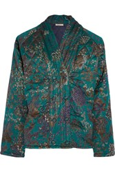 Mes Demoiselles Theodose Quilted Silk Jacket Forest Green