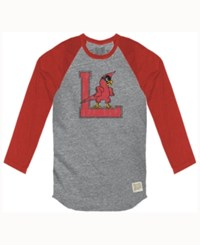 Retro Brand Men's Louisville Cardinals Color Block Long Sleeve T Shirt Gray