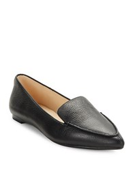 Karl Lagerfeld Destine Calf Hair Accented Leather Loafers Black