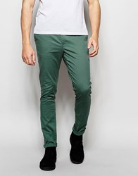 Asos Super Skinny Chinos In Khaki Washed Green