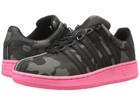K Swiss Classic Vn Camo Glam Black Pewter Neon Red Leather Women's Lace Up Casual Shoes