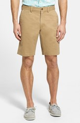 Nordstrom Men's Big And Tall Men's Shop Washed Flat Front Shorts Tan Kelp