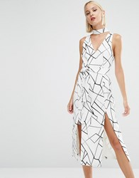 Lavish Alice Abstract Print Tie Belt Double Split Midi Dress Monochrome Multi