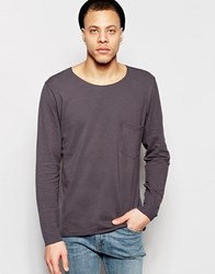 Weekday Rawley Long Sleeve Pique Top Raw Edge In Dark Grey Dark Grey 08 105
