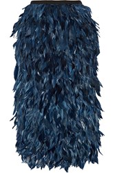 Erdem Skyla Feather Trimmed Satin And Cady Midi Skirt Blue