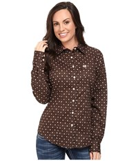 Cinch Cotton Plain Weave Print Brown Women's Clothing