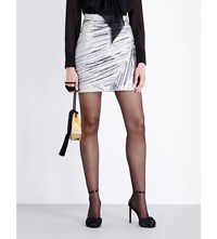 Saint Laurent Pleated Metallic Mini Skirt Silver