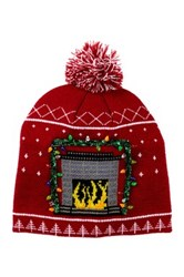 Bioworld Holiday Fireplace Beanie Red