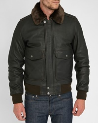 Schott Nyc Brown Removable Fur Collar Leather Flight Jacket