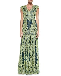 Erin Fetherston Cap Sleeve Lace Overlay Gown Tea Lime