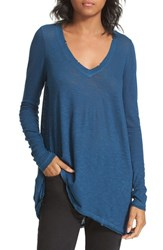 Free People Women's 'Anna' Burnout High Low Tee Sapphire