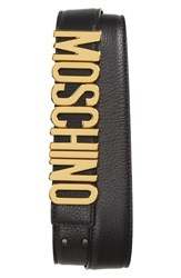 Men's Moschino Logo Plaque Buckle Belt Black Gold