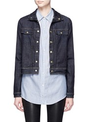 Frame Denim 'Le Cropped' Stand Collar Jacket Blue