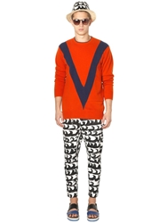 Tsumori Chisato Wool And Cashmere Intarsia Sweater Orange Blue