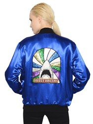 Saint Laurent Glitter Shark Techno Satin Bomber Jacket