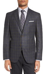 David Donahue Men's Big And Tall 'Connor' Classic Fit Plaid Wool And Cashmere Sport Coat Mid Grey