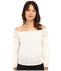Nicole Miller Off The Shoulder Eyelet Peasant Top White Women's Clothing