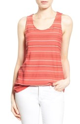 Women's Caslon Embroidered Cotton Knit Tank Coral Red Stripe