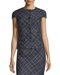 Michael Kors Cap Sleeve Button Front Plaid Jacket Black White Women's