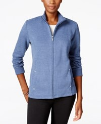 Karen Scott Fleece Jacket Only At Macy's Heather Indigo