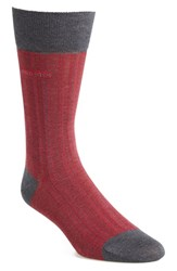 Men's Boss 'Paul' Cotton Blend Crew Socks Red Dark Red