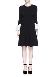 Alexander Mcqueen Peplum Sleeve Wool Knit Flare Dress Black