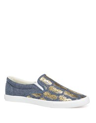 Bucketfeet Pineappleade Canvas Slip Ons Blue