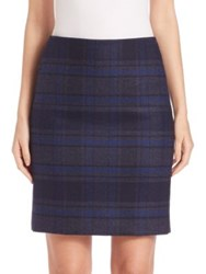 Akris Wool Double Face Plaid Pencil Skirt Bluejay Starling